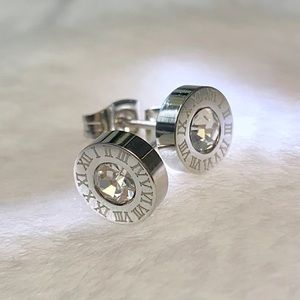 Cubic Zirconia Roman Numerals Stud Earrings